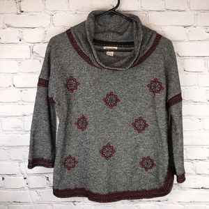 Lucky Brand Lotus Funnel Neck Embroidered Pullover